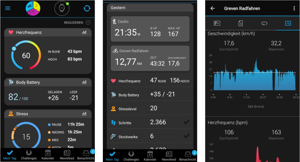 Smartphone App Garmin Connect
